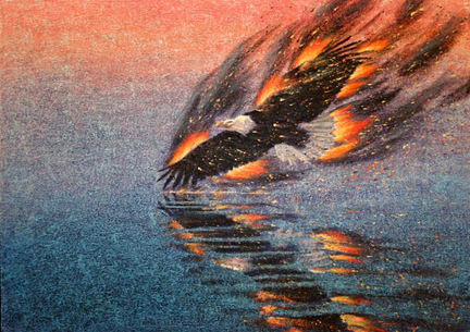 Burning Eagle, painting by Peter C. Stone
